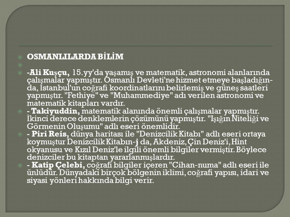 OSMANLILARDA BİLİM