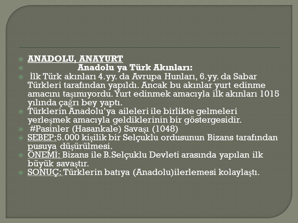 ANADOLU, ANAYURT Anadolu ya Türk Akınları: