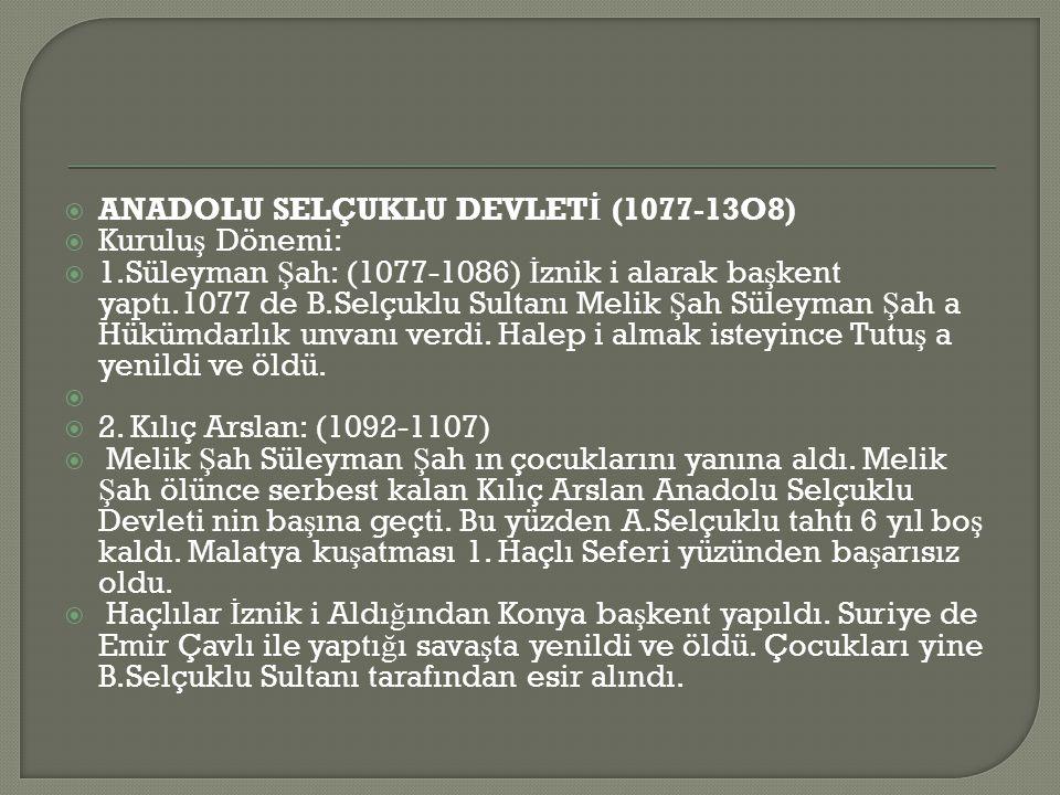 ANADOLU SELÇUKLU DEVLETİ (1077-13O8)
