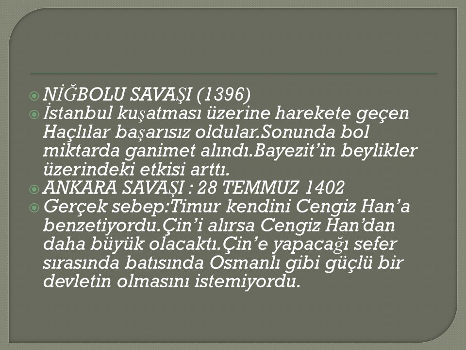 NİĞBOLU SAVAŞI (1396)