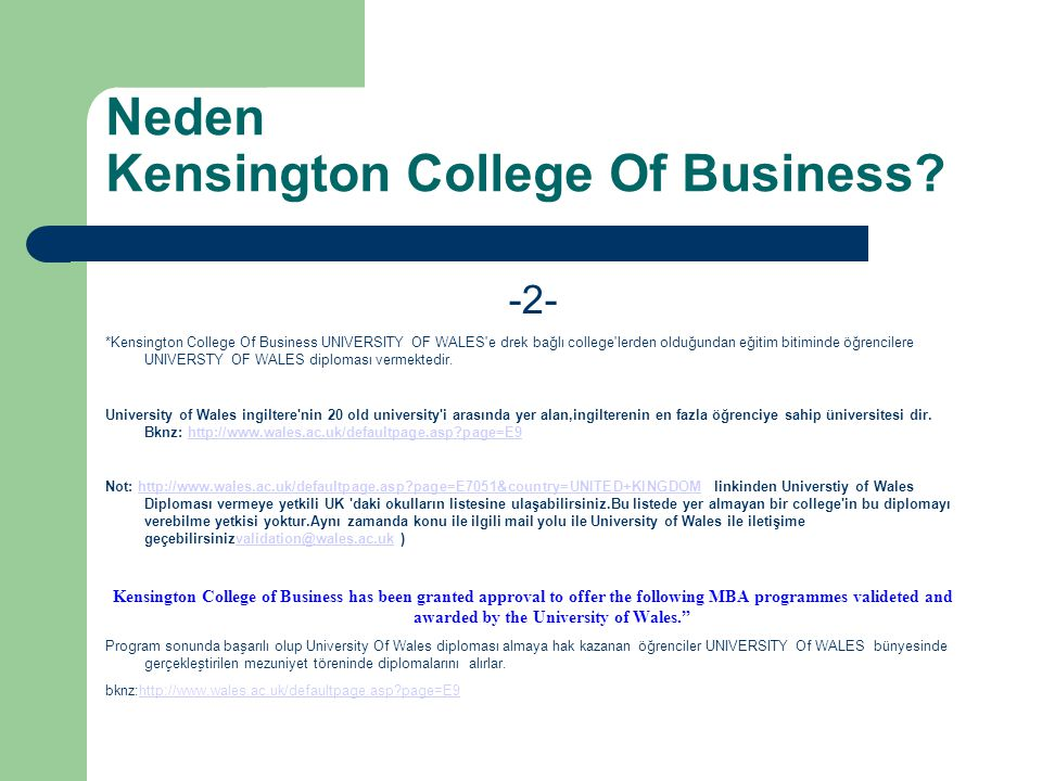 Neden Kensington College Of Business