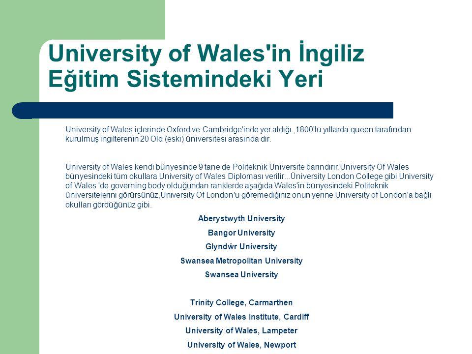 University of Wales in İngiliz Eğitim Sistemindeki Yeri