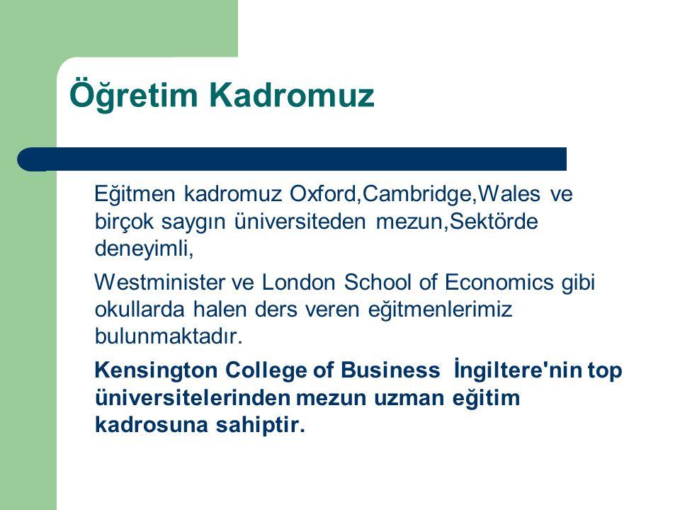 Öğretim Kadromuz Eğitmen kadromuz Oxford,Cambridge,Wales ve birçok saygın üniversiteden mezun,Sektörde deneyimli,