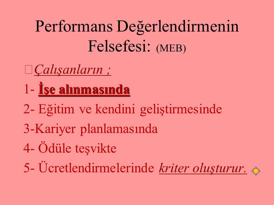 Performans Değerlendirmenin Felsefesi: (MEB)
