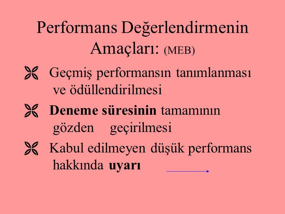 Performans Değerlendirmenin Amaçları: (MEB)