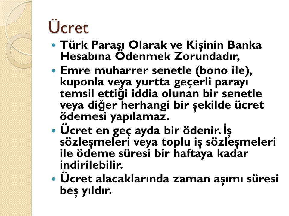 Ücret Türk Parası Olarak ve Kişinin Banka Hesabına Ödenmek Zorundadır,
