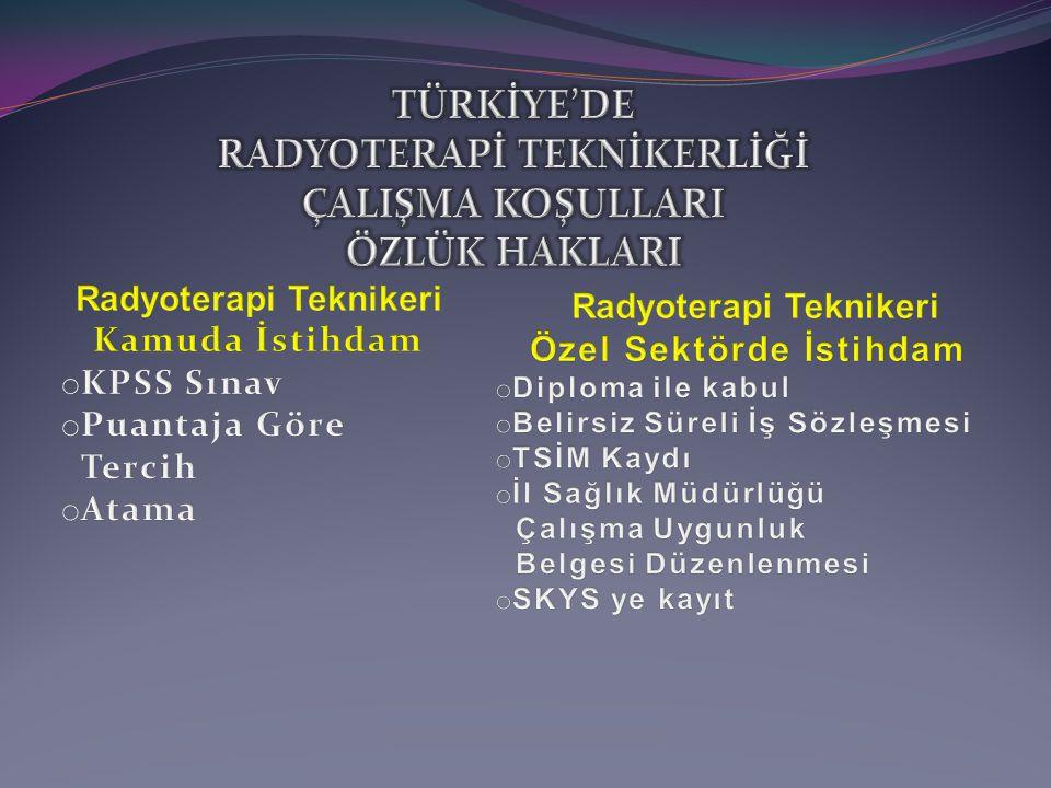 TÜRKİYE'DE RADYOTERAPİ TEKNİKERLİĞİ ÇALIŞMA KOŞULLARI ÖZLÜK HAKLARI