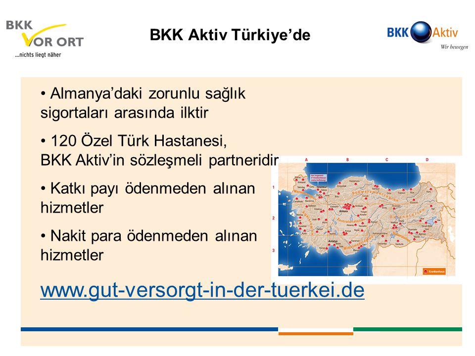www.gut-versorgt-in-der-tuerkei.de BKK Aktiv Türkiye'de