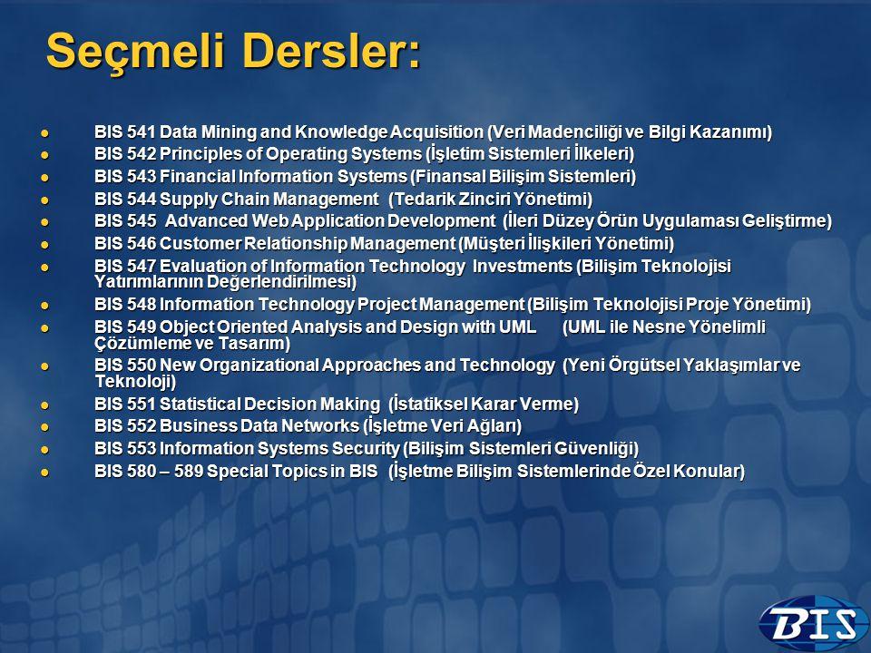Seçmeli Dersler: BIS 541 Data Mining and Knowledge Acquisition (Veri Madenciliği ve Bilgi Kazanımı)