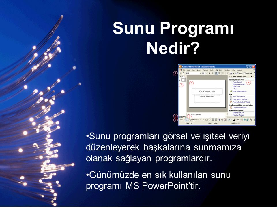 Sunu Programı Nedir Sunu programları görsel ve işitsel veriyi düzenleyerek başkalarına sunmamıza olanak sağlayan programlardır.