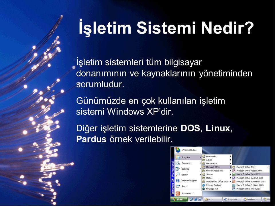 İşletim Sistemi Nedir İşletim sistemleri tüm bilgisayar donanımının ve kaynaklarının yönetiminden sorumludur.