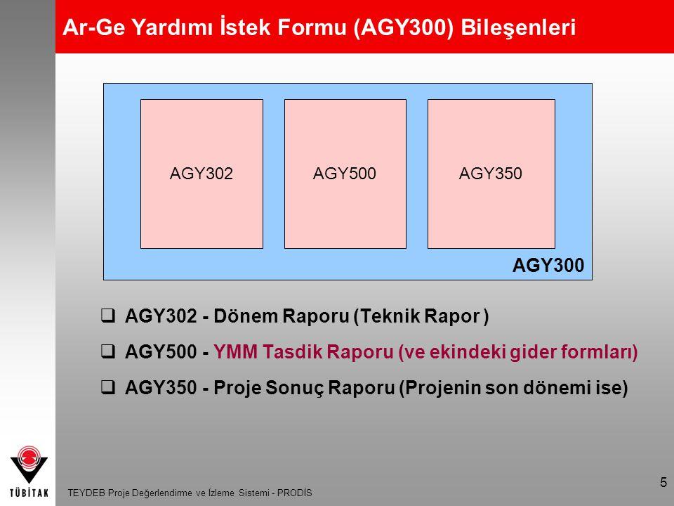 Ar-Ge Yardımı İstek Formu (AGY300) Bileşenleri