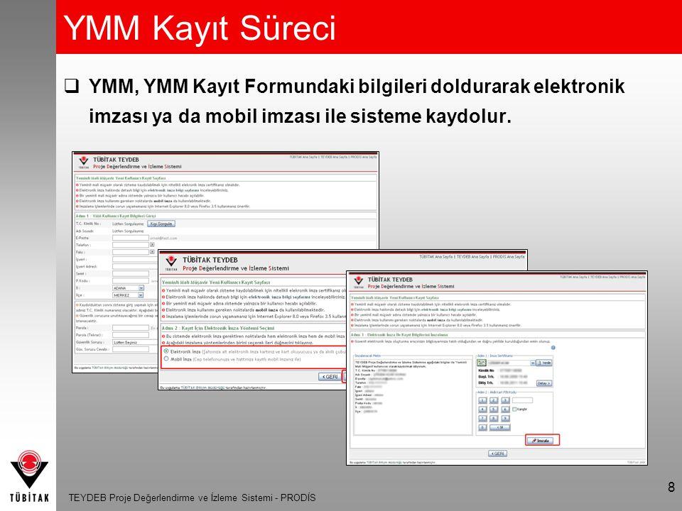 YMM Kayıt Süreci YMM, YMM Kayıt Formundaki bilgileri doldurarak elektronik imzası ya da mobil imzası ile sisteme kaydolur.