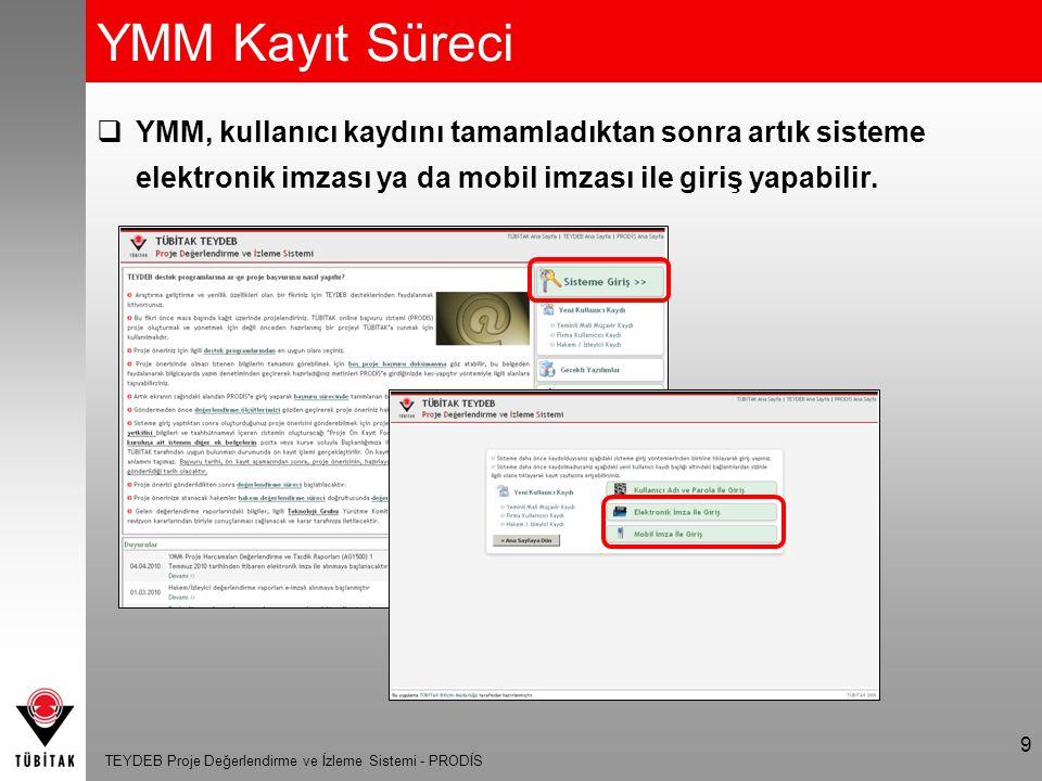 YMM Kayıt Süreci YMM, kullanıcı kaydını tamamladıktan sonra artık sisteme elektronik imzası ya da mobil imzası ile giriş yapabilir.