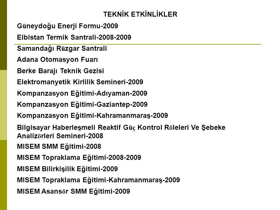 TEKNİK ETKİNLİKLER Güneydoğu Enerji Formu-2009. Elbistan Termik Santrali-2008-2009. Samandağı Rüzgar Santrali.