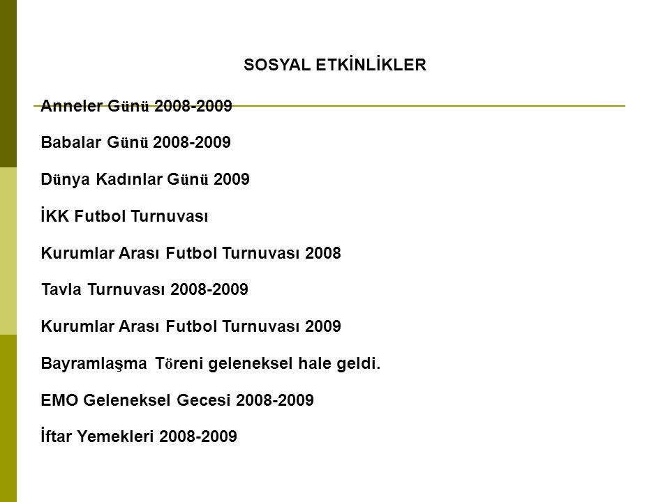 SOSYAL ETKİNLİKLER Anneler Günü 2008-2009. Babalar Günü 2008-2009. Dünya Kadınlar Günü 2009. İKK Futbol Turnuvası.