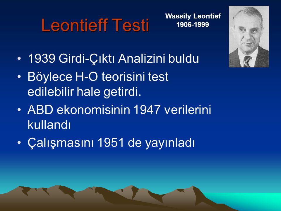 Leontieff Testi 1939 Girdi-Çıktı Analizini buldu