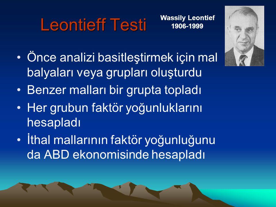 Leontieff Testi Wassily Leontief. 1906-1999. Önce analizi basitleştirmek için mal balyaları veya grupları oluşturdu.