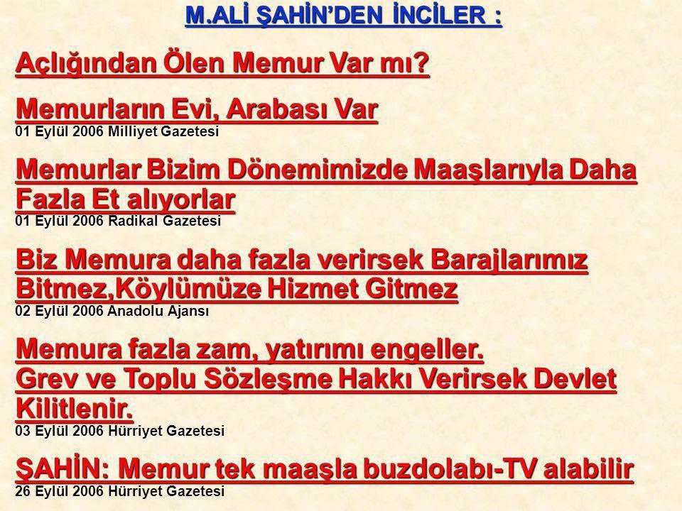 M.ALİ ŞAHİN'DEN İNCİLER :