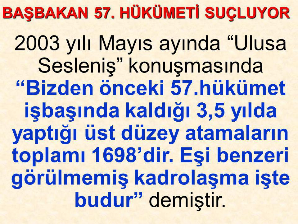 BAŞBAKAN 57. HÜKÜMETİ SUÇLUYOR