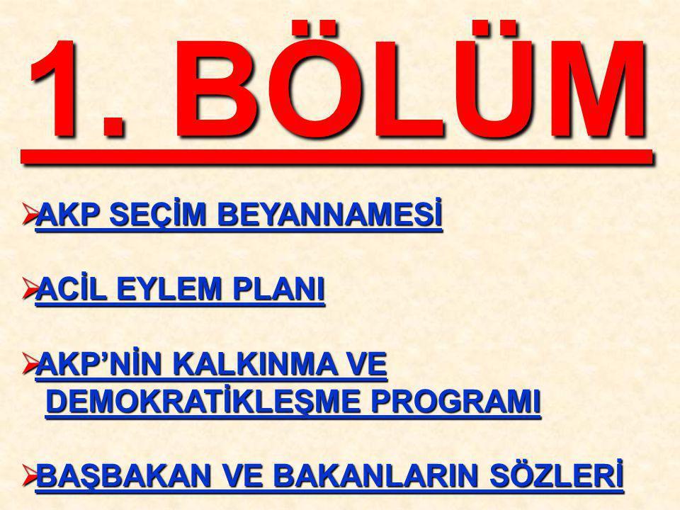 1. BÖLÜM AKP SEÇİM BEYANNAMESİ ACİL EYLEM PLANI AKP'NİN KALKINMA VE