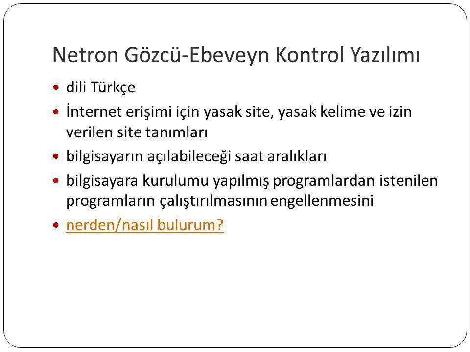 Netron Gözcü-Ebeveyn Kontrol Yazılımı