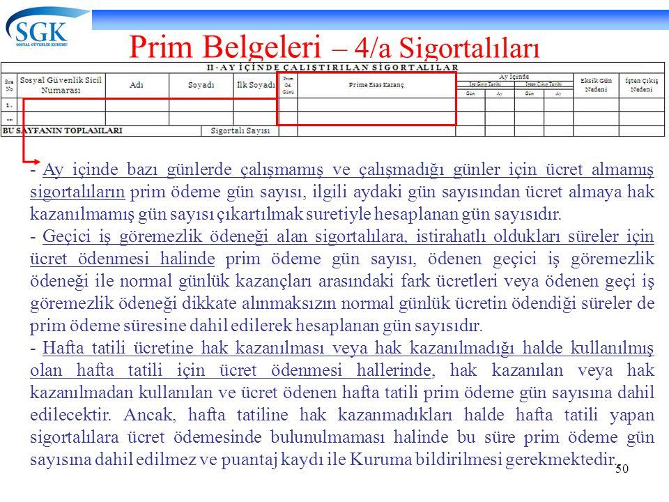 Prim Belgeleri – 4/a Sigortalıları