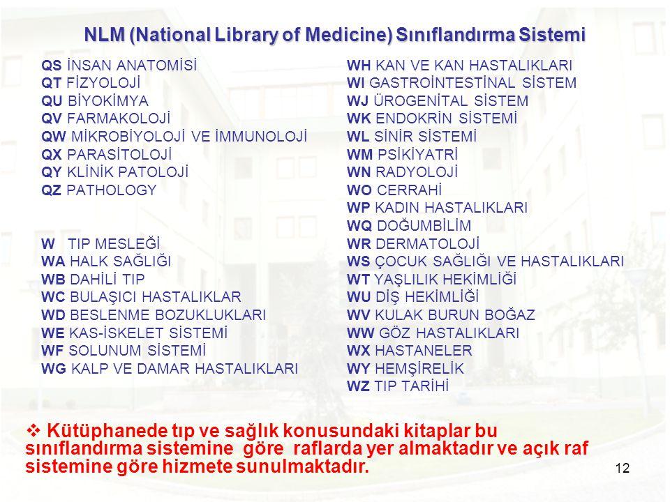 NLM (National Library of Medicine) Sınıflandırma Sistemi