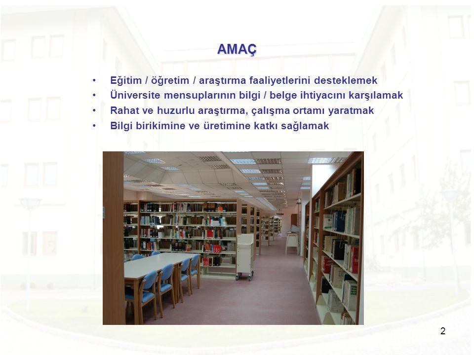 AMAÇ Eğitim / öğretim / araştırma faaliyetlerini desteklemek