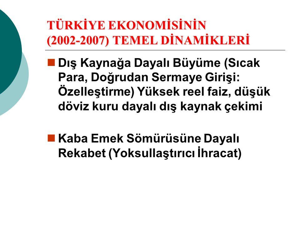 TÜRKİYE EKONOMİSİNİN (2002-2007) TEMEL DİNAMİKLERİ