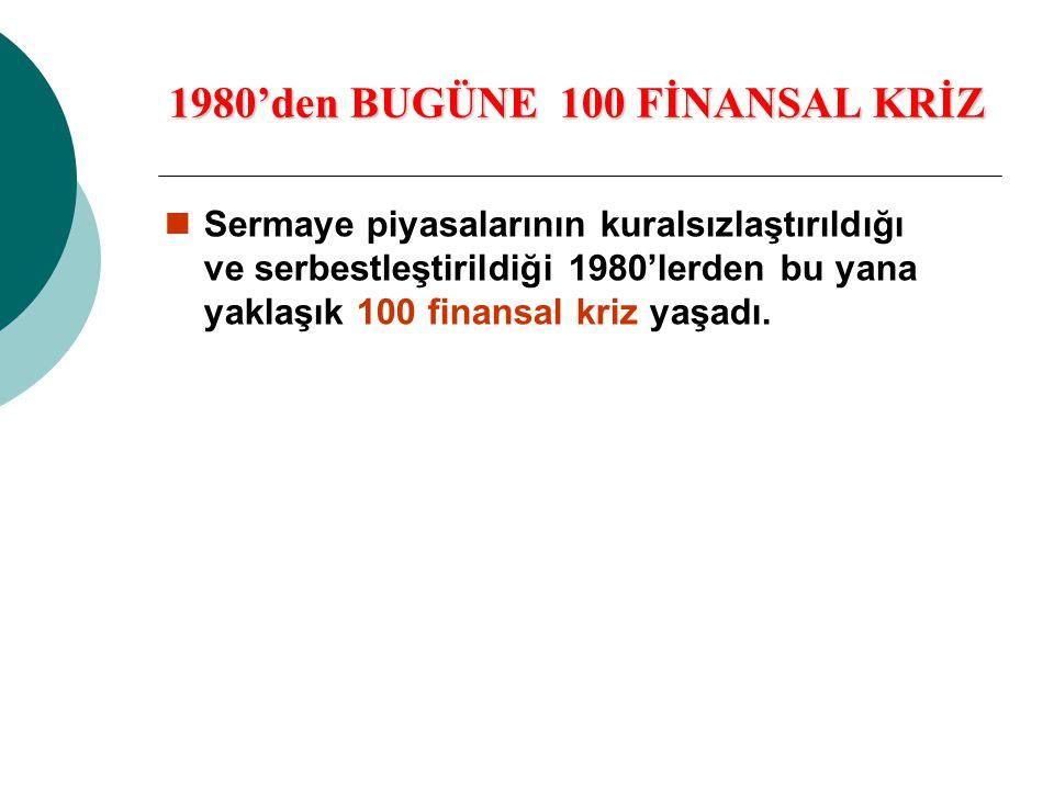 1980'den BUGÜNE 100 FİNANSAL KRİZ