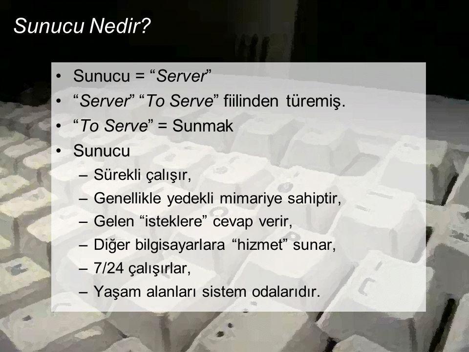 Sunucu Nedir Sunucu = Server Server To Serve fiilinden türemiş.