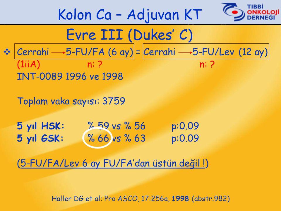 Kolon Ca – Adjuvan KT Evre III (Dukes' C)