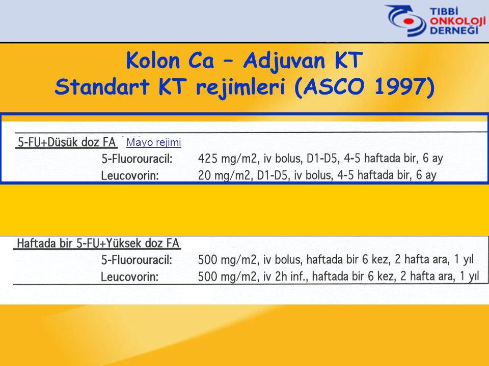 Kolon Ca – Adjuvan KT Standart KT rejimleri (ASCO 1997)
