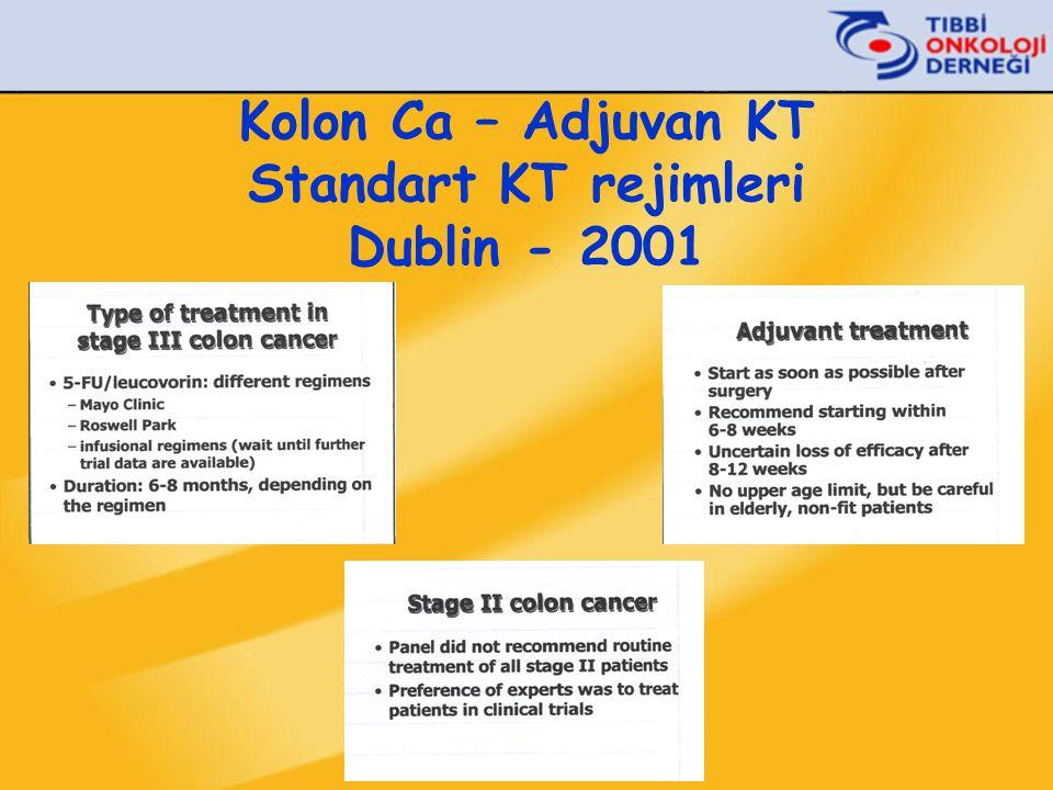 Kolon Ca – Adjuvan KT Standart KT rejimleri Dublin - 2001