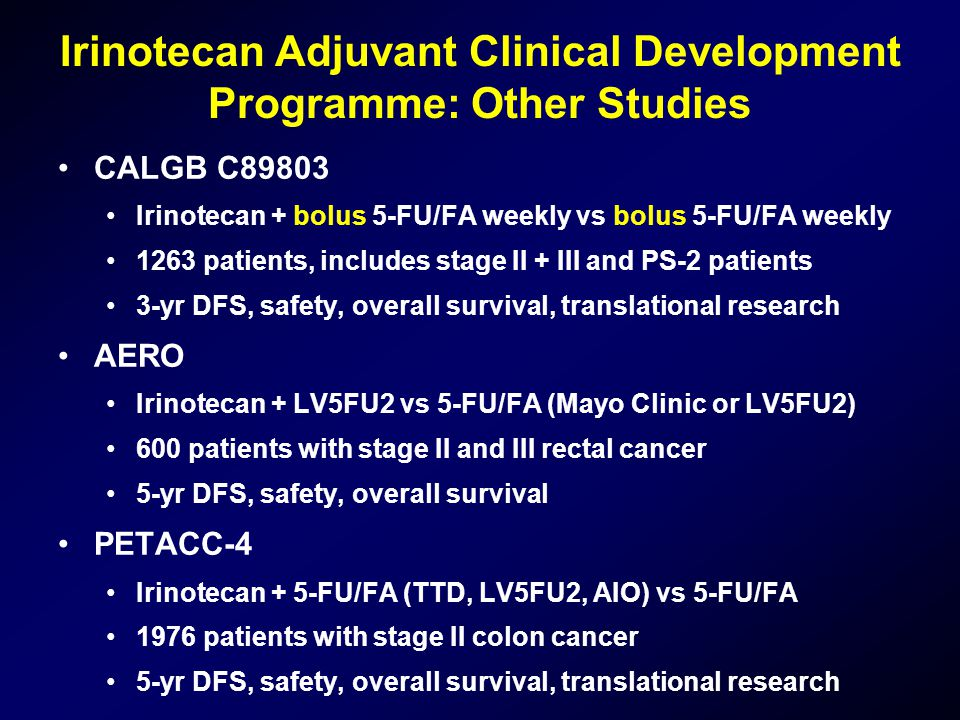 Irinotecan Adjuvant Clinical Development Programme: Other Studies