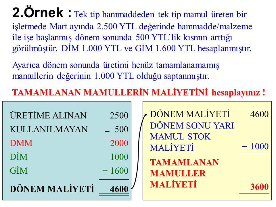 2.Örnek : Tek tip hammaddeden tek tip mamul üreten bir işletmede Mart ayında 2.500 YTL değerinde hammadde/malzeme ile işe başlanmış dönem sonunda 500 YTL'lik kısmın arttığı görülmüştür. DİM 1.000 YTL ve GİM 1.600 YTL hesaplanmıştır.