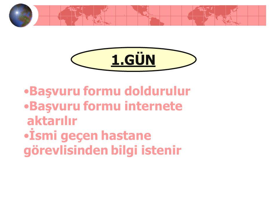 1.GÜN Başvuru formu doldurulur Başvuru formu internete aktarılır