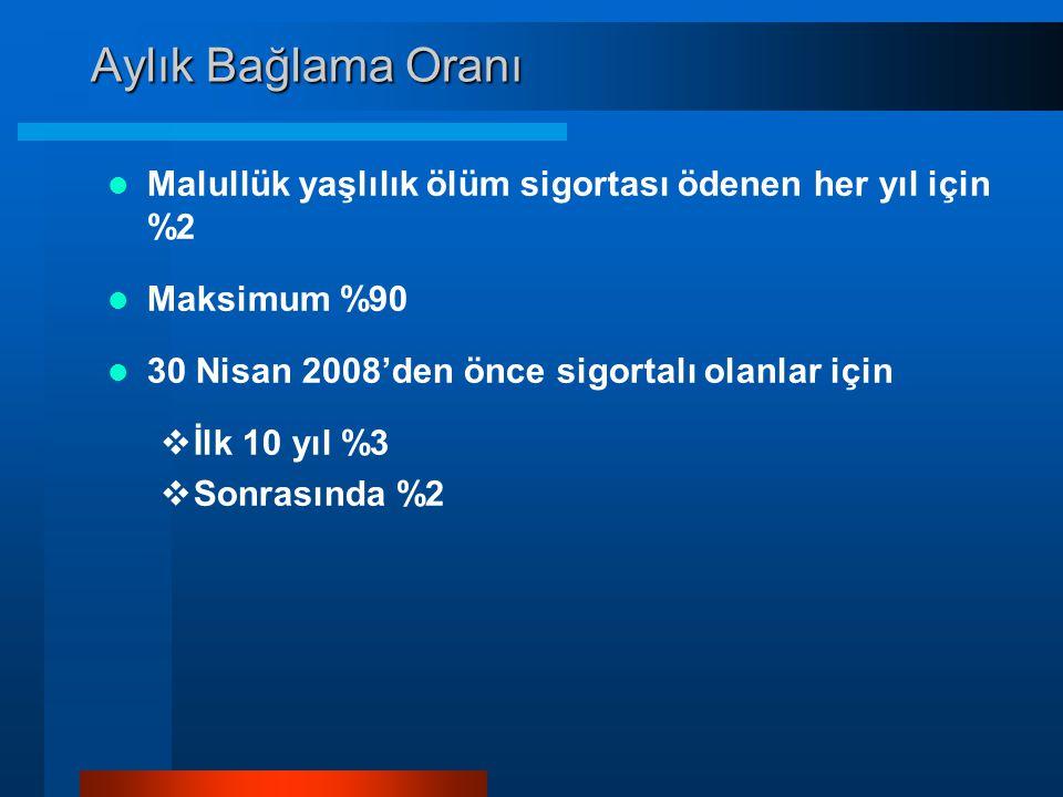 Aylık Bağlama Oranı Malullük yaşlılık ölüm sigortası ödenen her yıl için %2. Maksimum %90. 30 Nisan 2008'den önce sigortalı olanlar için.
