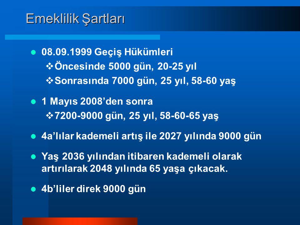 Emeklilik Şartları 08.09.1999 Geçiş Hükümleri