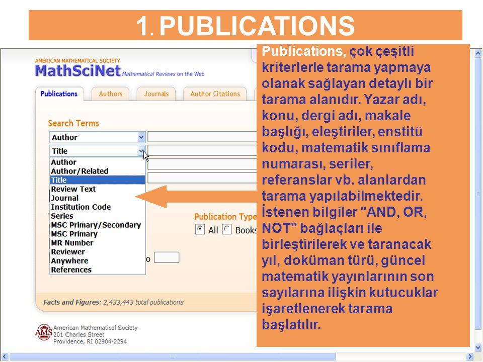 1. PUBLICATIONS Publications, çok çeşitli kriterlerle tarama yapmaya