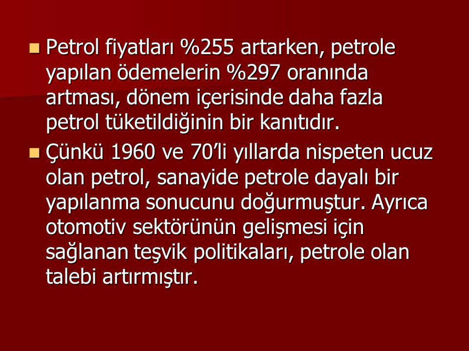 Petrol fiyatları %255 artarken, petrole yapılan ödemelerin %297 oranında artması, dönem içerisinde daha fazla petrol tüketildiğinin bir kanıtıdır.