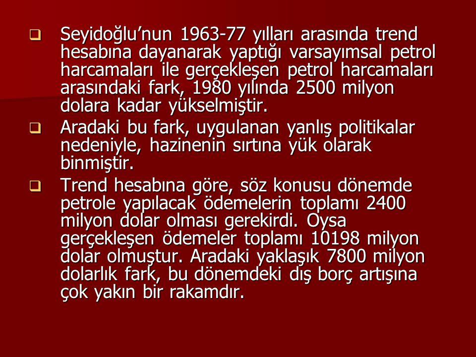 Seyidoğlu'nun 1963-77 yılları arasında trend hesabına dayanarak yaptığı varsayımsal petrol harcamaları ile gerçekleşen petrol harcamaları arasındaki fark, 1980 yılında 2500 milyon dolara kadar yükselmiştir.