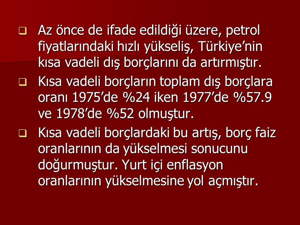 Az önce de ifade edildiği üzere, petrol fiyatlarındaki hızlı yükseliş, Türkiye'nin kısa vadeli dış borçlarını da artırmıştır.