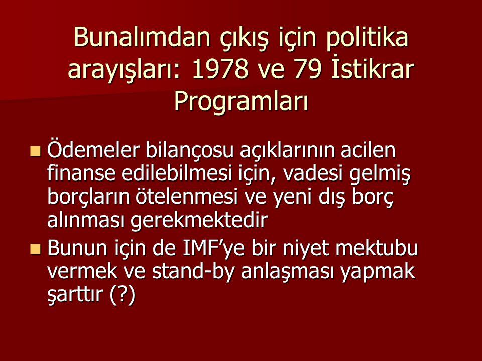 Bunalımdan çıkış için politika arayışları: 1978 ve 79 İstikrar Programları