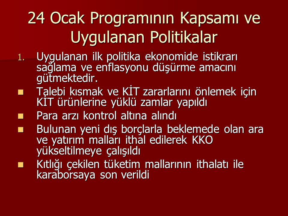 24 Ocak Programının Kapsamı ve Uygulanan Politikalar