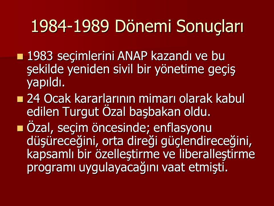 1984-1989 Dönemi Sonuçları 1983 seçimlerini ANAP kazandı ve bu şekilde yeniden sivil bir yönetime geçiş yapıldı.