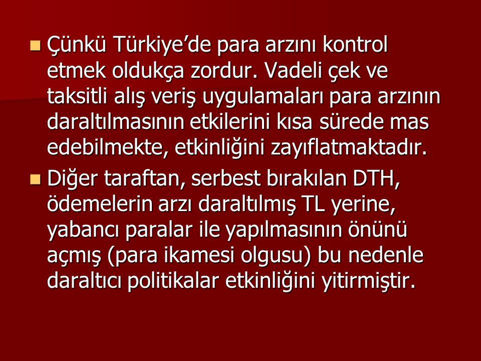 Çünkü Türkiye'de para arzını kontrol etmek oldukça zordur