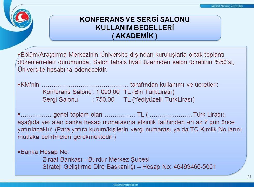 KONFERANS VE SERGİ SALONU KULLANIM BEDELLERİ ( AKADEMİK )
