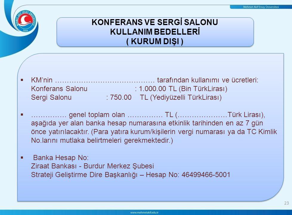 KONFERANS VE SERGİ SALONU KULLANIM BEDELLERİ ( KURUM DIŞI )